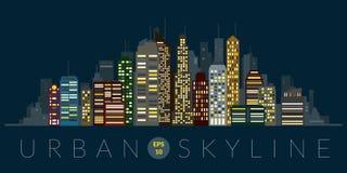 Urban skyline at night color vector Royalty Free Stock Photos
