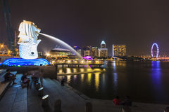 Singapore skyline and night view of Merlion and Marina Bay Royalty Free Stock Photography
