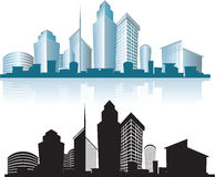 Urban skyline office buildings. Silhouettes of generic modern city office skyscrapers and headquarters buildings Stock Image