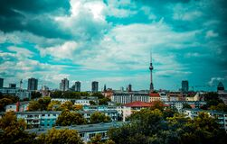 Urban skyline with tower Royalty Free Stock Image