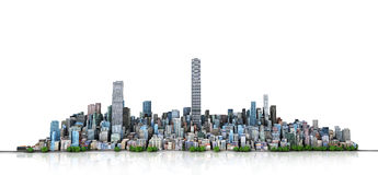Urban skyline. View to modern city from high-rise buildings on background. 3d illustration Royalty Free Stock Photos