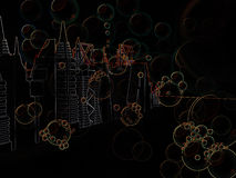 Urban Skylines Bubbles Background Stock Images