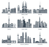Urban Skylines Icons Set. Urban skylines black white icons set with Paris Berlin and New York flat isolated vector illustration Royalty Free Stock Photography