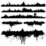Urban skylines splatter collection stock illustration