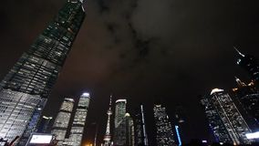 Urban skyscraper at night,shanghai pudong business center landmark.   gh2_07064 stock video footage