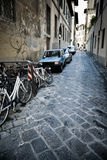 Urban slum. Narrow Italian street. High contrast effect stock photo