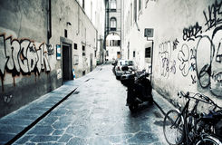 Urban slum. Narrow Italian street. High contrast effect stock image