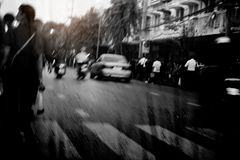 Urban society with black and white. Royalty Free Stock Photography