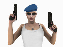 Urban Soldier. Quality 3d illustration of soldier woman wielding hand guns Stock Photography