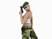 Urban Soldier. Quality 3d illustration of soldier woman holding a hand gun Stock Photos