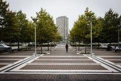 Urban som är fyrkantig framme av stationen royaltyfri bild