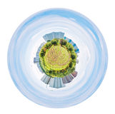 Urban spherical panorama of garden and houses Royalty Free Stock Photos