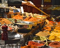 Urban Spices. Spices shop in an urban market, New York stock photography