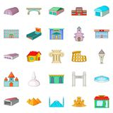 Urban sprawl icons set, cartoon style. Urban sprawl icons set. Cartoon set of 25 urban sprawl vector icons for web isolated on white background Royalty Free Stock Image