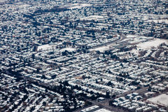 Urban Sprawl, Lower Mainland, near Vancouver, BC. Aerial view of urbanization of lower mainland near Vancouver, British Colombia, Canada, in winter stock image