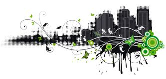 Urban spring. Urban abstract vector background with butterflys and floral elements Royalty Free Stock Photo