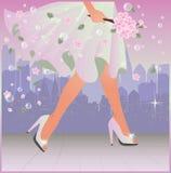 Urban Spring woman card, vector Stock Photos