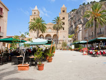 Urban square in Cefalu, Sicily, Italy Royalty Free Stock Photo