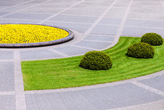 Urban square detail with landscaped plants Royalty Free Stock Photography