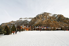 Urban square in mountain town Val d'Isere, France Royalty Free Stock Photos