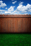 Urban Stage Wooden Fence and Clouds Royalty Free Stock Images
