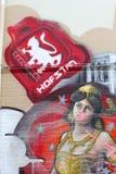 Grungy graffiti with historic spy Mata Hari in Leeuwarden, Friesland, Netherlands Royalty Free Stock Photo
