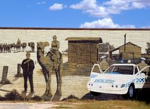 Urban street art wall painting, Alice Springs, Australia Royalty Free Stock Photography