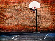 Urban Street Basketball Court and Hoop. Detail of urban basketball court hoop bball streetball city Royalty Free Stock Image