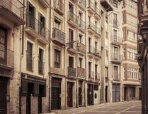 Urban street in Bilbao, Spain. Retro toned Royalty Free Stock Image