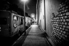 Urban street in black and white Royalty Free Stock Photo