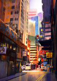 Urban street with buildings, city alleyway Royalty Free Stock Photo