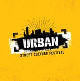 Urban Street Culture Festival Rough Illustration Concept On Grunge Wall Background With Paint Stroke.  Stock Photos