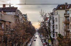 Urban street with graffiti in winter in Berlin Stock Photography