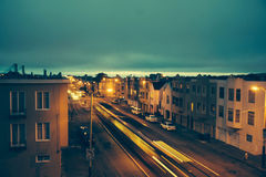 Urban street at night Royalty Free Stock Photo