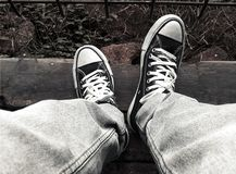 Urban Street Photography - Canvas Shoes stock photo