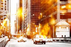 Urban street scene. With bright lights stock photography
