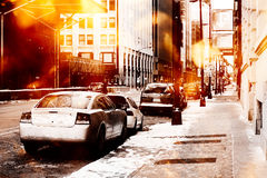 Urban street scene. With cars stock photo