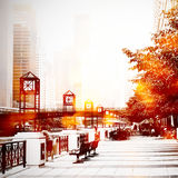 Urban street scene. By Chicago River royalty free stock photo
