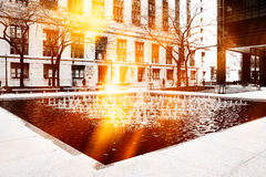 Urban street scene. At downtown of Chicago stock photography