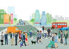 Urban street scene. People on sidewalk next to busy street in urban scene vector illustration