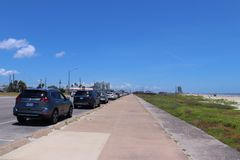 Urban street scene in Texas, United States of America. Boulevard in Galveston, Texas, Lone Star State. Boulevard in Galveston, Texas, Lone Star State Stock Image