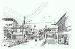 Urban street sketch. City street digital sketch.Illustration Royalty Free Stock Photos