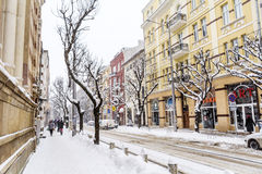 Urban street in a snow storm Royalty Free Stock Photography
