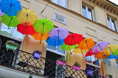 Urban street umbrellas Stock Photos