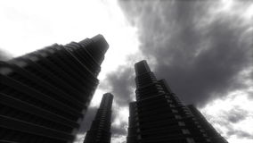 Urban Stroll. Skyscrapers. Abstract Stylized Big City Background stock footage