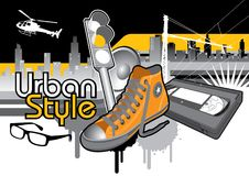 Urban style. Graphic composition with several urban life symbols Stock Photos
