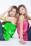 Urban style. Of two young beautiful girls Royalty Free Stock Photos
