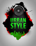 VECTOR Urban style. Acoustic speaker on the background silhouette of the city vector illustration