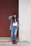 Urban style girl. In the city Royalty Free Stock Image