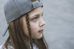 Urban girl face closeup stock photo